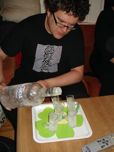 Ice-cold vodka from wonky glasses.