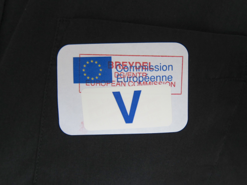 The visitor badge.