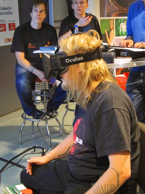 Bad hair day in a virtual reality. Trying out Oculus Rift VR glasses. JESUS ON A MOTHERFUCKING TOAST THIS IS THE FUTURE WE WERE PROMISED HERE TAKE MY MONEY.