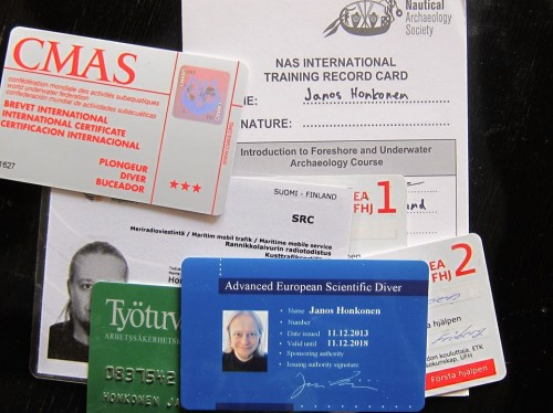 One loose end tied up - shitload of cards and certifications from the scientific diving school.