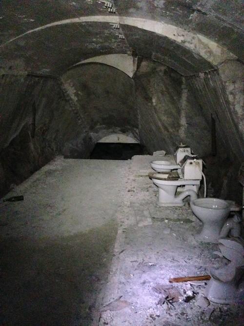 An abandoned evacuation shelter.