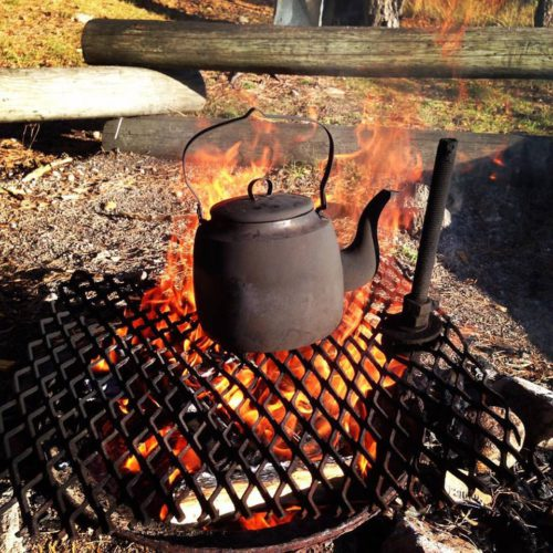 Boating practise and campfire coffee.