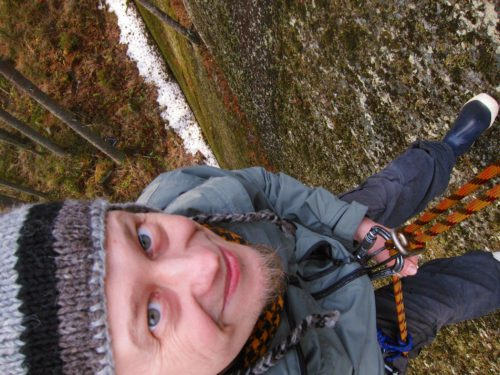 Fear of heights pushed further away again - belayed down 20 meters of totally vertical, moss and crap covered cliff.